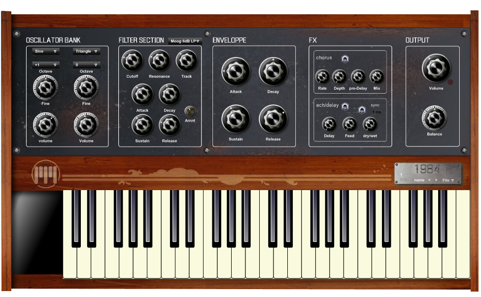 1984 free software-synthesizer by Pianovintage