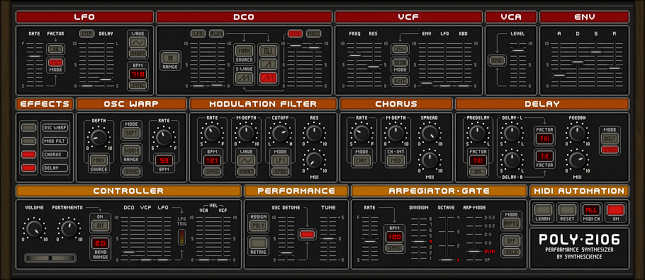 Poly 2106 free software-synthesizer by Synthescience
