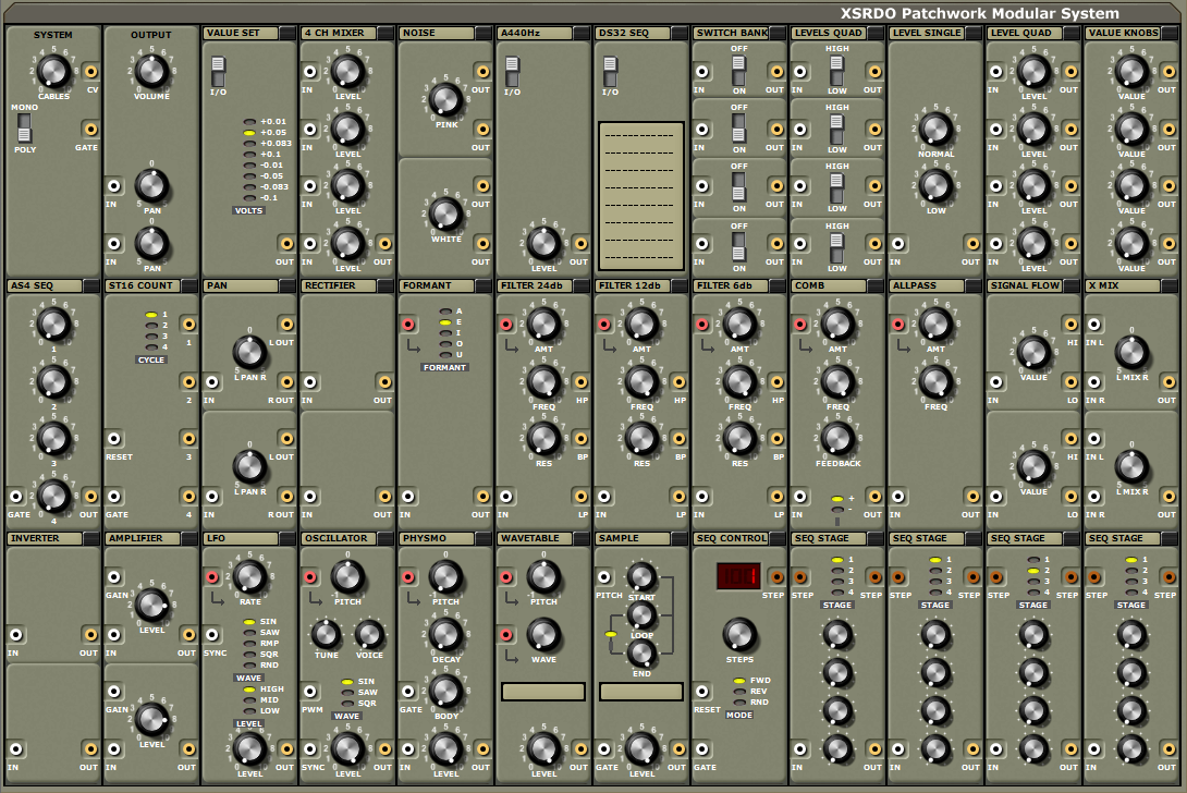 XSRDO Patchwork Modular System free software-synthesizer by XSRDO