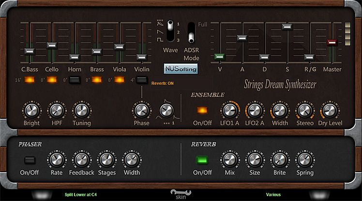 Strings Dream Synthesizer free software-synthesizer by NUSofting