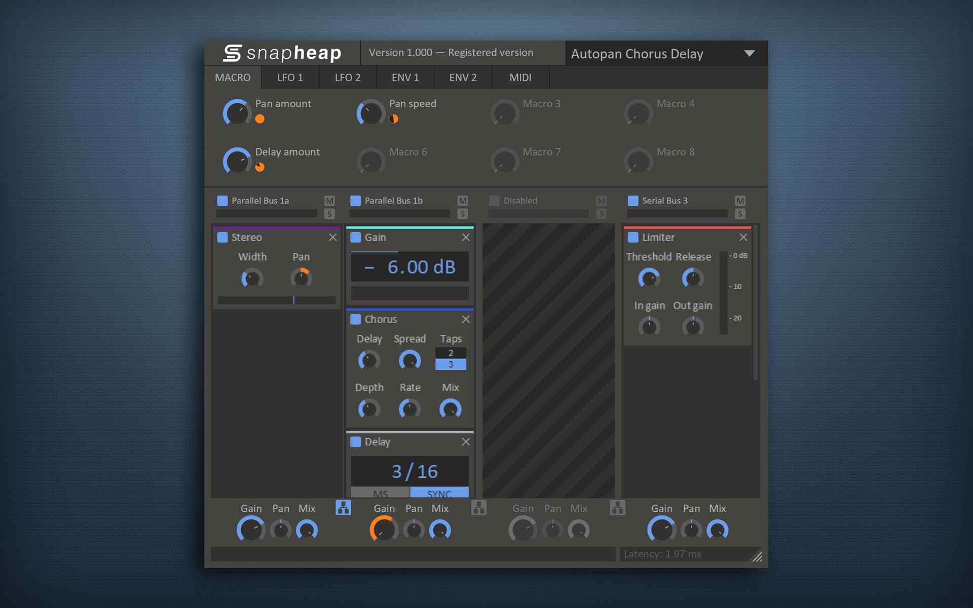 Snap Heap free multi-fx | distortion | flanger | phaser | eq | compressor | filter | lfo by kiloHearts