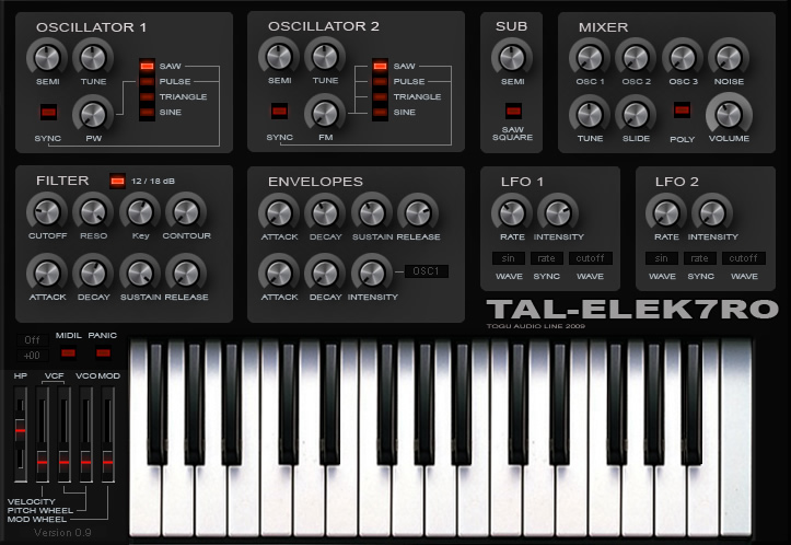 TAL-Elek7ro free software-synthesizer by Togu Audio Line