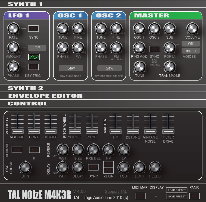 TAL-NoiseMaker free software-synthesizer by Togu Audio Line