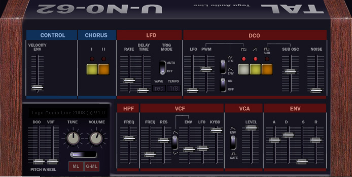 TAL-U-No-62 free software-synthesizer by Togu Audio Line