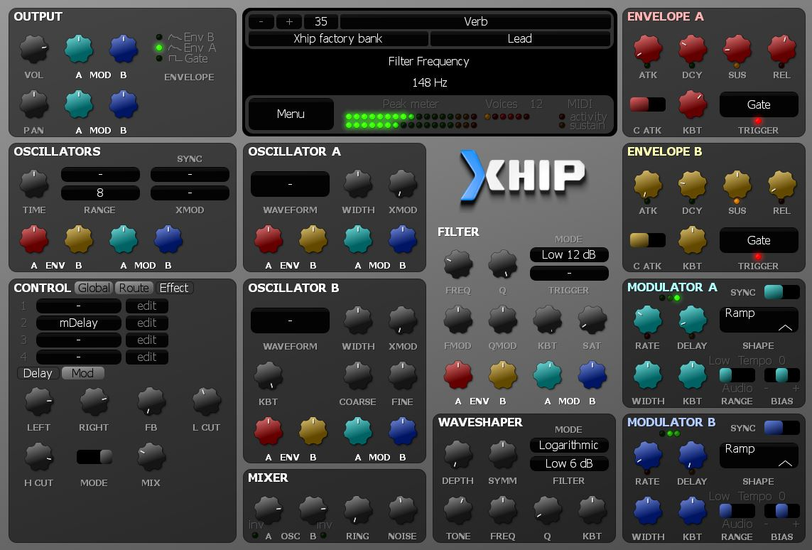 Xhip Synthesizer free software-synthesizer by aciddose