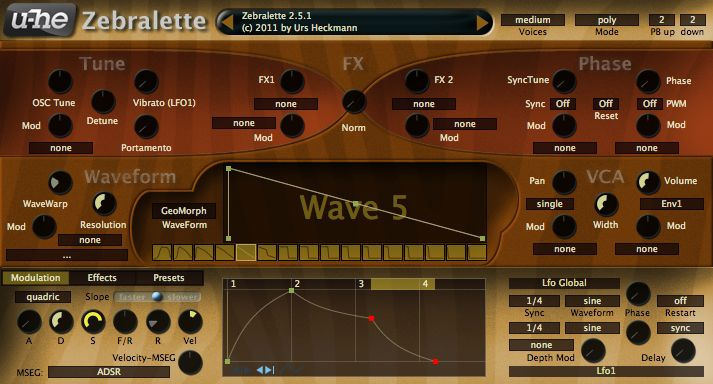 Zebralette free software-synthesizer by u-he