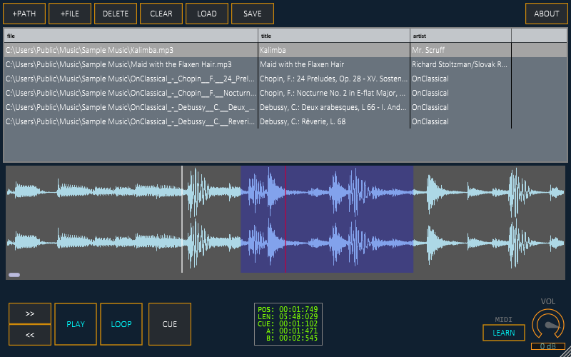vstPlayer free audio-player by Mirax Labs