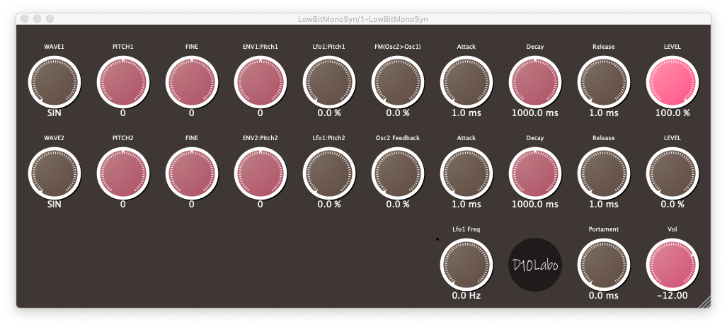 LowBitMonoSyn free software-synthesizer by D10Labo