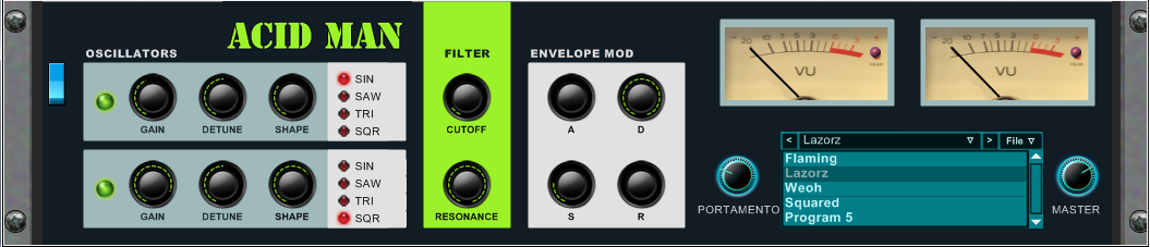 Acid Man free software-synthesizer by Calgar C Instruments