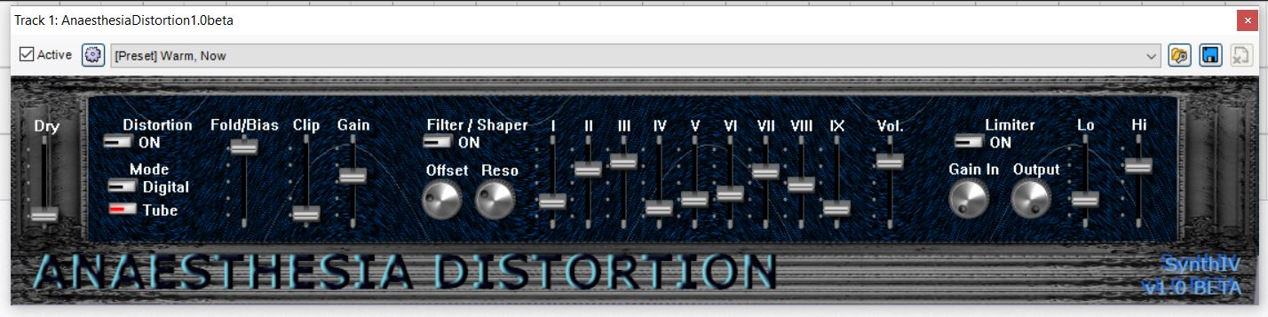 Anaesthesia Distortion free distortion by SynthIV