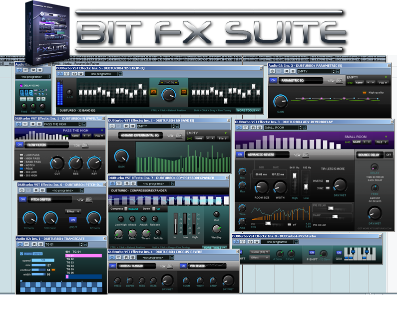 Bit FX Suite - 11 FX free multi-fx | echo | delay | compressor | limiter | reverb | pitch-shifter | pitch-corrector | filter | chorus by DUBturbo