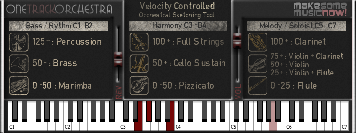 One Track Orchestra free software-synthesizer by make some music now!