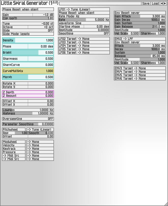 Little Spiral Generator free software-synthesizer by Soundemote