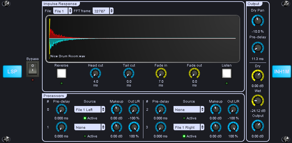 LSP Impulsnachhall - Impulse Reverb plugin series free reverb by Linux Studio Plugins Project