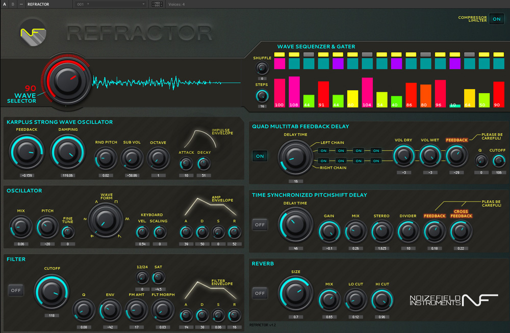 Refractor free software-synthesizer by Noizefield Instruments