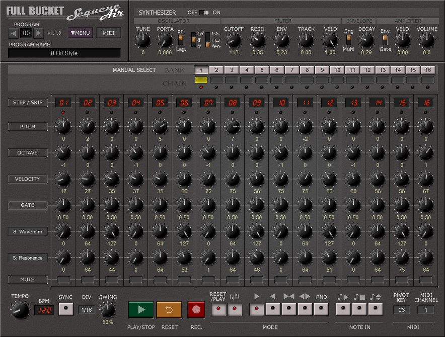 SequencAir free sequencer | host | software-synthesizer by Full Bucket Music