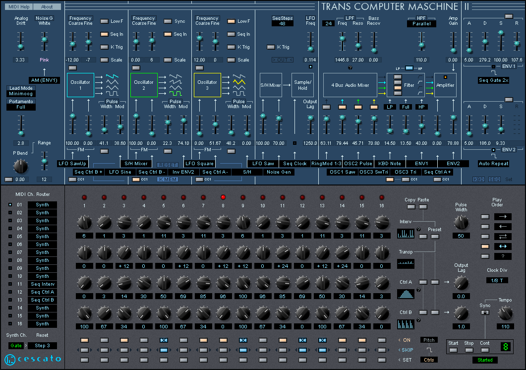 Trans Computer Maschine free software-synthesizer by Cescato Musiktechnologie