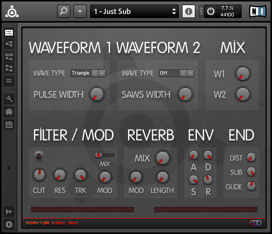 Reaktor Bass One free software-synthesizer by Dario Lupo / Daze