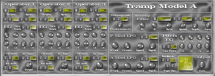 Tramp Model A free software-synthesizer by Deztex Limited Productions