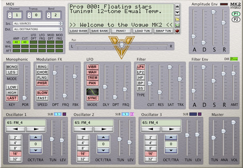 Vogue MK2 Synthesizer free software-synthesizer by Victor Cerullo