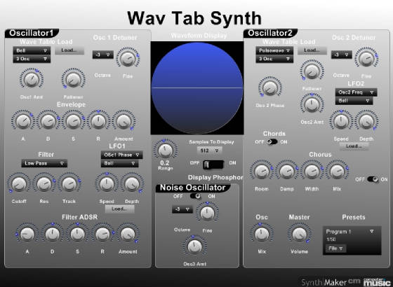 Wav Tab Synth free software-synthesizer by Ph D(J) Music
