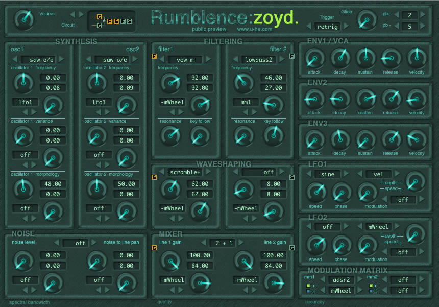 Zoyd free software-synthesizer by u-he